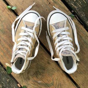 Converse hi-top gold sneaker with side zipper GUC
